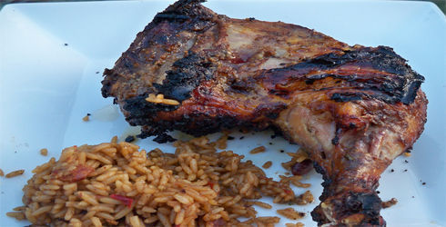 Jerk Chicken is a spicy, flavorful dish that is perfect for summer BBQs.  The sauce can be used as a marinade or at the table on top of your favorite foods.