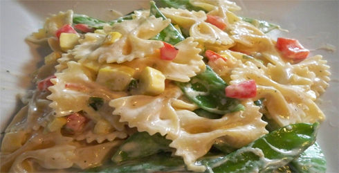 Creamy Pasta Primavera is a favorite dinner recipe, especially when spring veggies are abundant.  This is a great recipe that truly highlights the best in-season, local vegetables.
