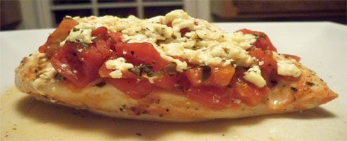 "When you want something to eat that doesn't require a lot of effort this is it. The recipe calls for feta cheese, but honestly, I think you could use whatever you have available. Of course, mozzarella would be the most ""Italian"", but the feta does bring a really nice taste to the chicken. An extra flavor to kick it up a bit."