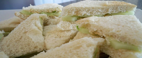 Herb Garden Cucumber Sandwiches remind me of the finger foods served at tea parties.  They are delicate and make a great snack when relaxing by the pool with friends, bridal and baby showers,
