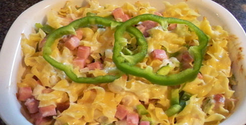 Ham and Cheese Noodle Casserole is super quick to make, the longest part is cooking the pasta.  Since you are using cooked ham, cooking time is cut to a mear 25 minutes, just enough to melt the cheese and heat through